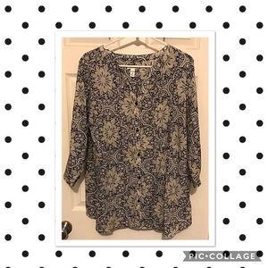 Plus Suze (1X) Women's button down print blouse.